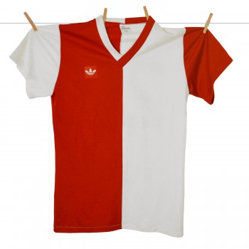1979 - 1980, Matchworn Adidas Feyenoord thuisshirt Rood-wit, Rugnummer 20, Made in West-Germany