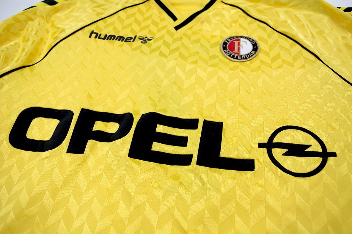 1987 - 1988, prachtig geel oud Feyenoord Hummel Opel uitshirt